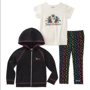 Juicy Couture Black Royal Heart Zip-Up Hoodie Set